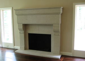 Carved Cottonwood Fireplace