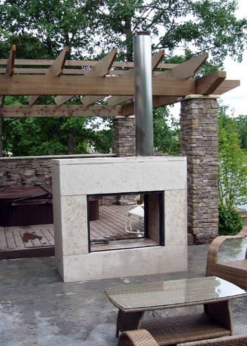 Outdoor See-Through Fireplace