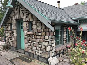 Stonework on fairy tale house.